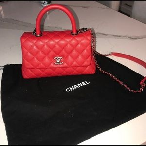 CHANEL Caviar Quilted Mini Coco Handle Flap Red